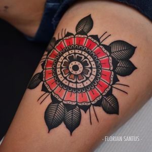 Traditional flower tattoo by Florian Santus #FlorianSantus #traditional #oldschool #flower #traditionalflower