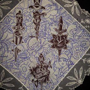 Daggers via instagram maryjoytattoo #handkerchief #flashart #art #skull #dagger #women #heart #maryjoy