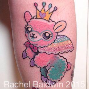 Alpaca tattoo by Rachel Baldwin. #Rachel Baldwin #girly #pastel #cute #alpaca