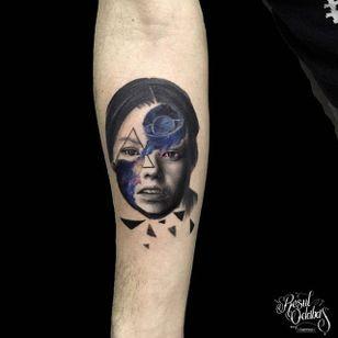 Woman galaxy tattoo by Resul Odabaș. #ResulOdabas #galaxy #portrait #woman #cosmic #cosmos