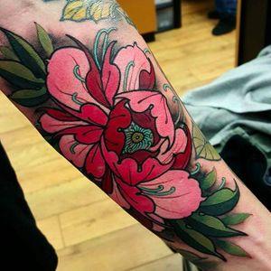 Peony flower tattoo by Elliott Wells #peony #peonies #flower #japanese #ElliottWells #triplesixstudios