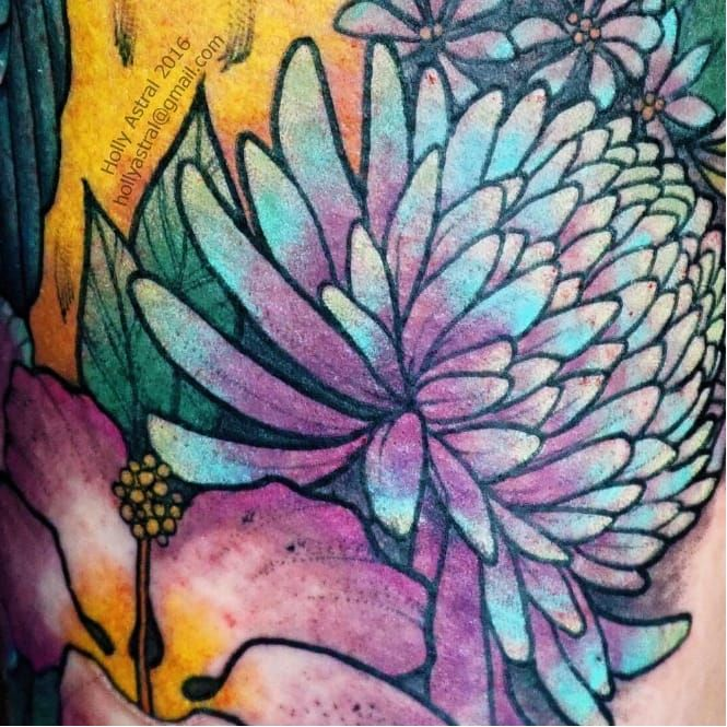 Close-up color tattoo by Holly Astral #HollyAstral #flowers #color