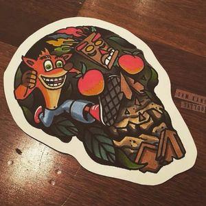 Ilustração de Sam Kane #SamKane #Crash #crashbandicoot #sony #game #playstation #akuaku