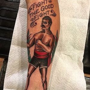 Fight The Good Fight, by Johnny Two Thirds #JohnnyTwoThirds #traditionaltattoo #boxertattoo #boxer #traditional