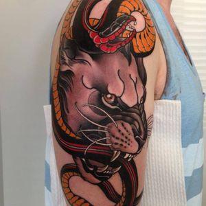 Big cat tattoo by Emily Rose #EmilyRose #neotraditional #masterpiece #panther #snake #animal #emilyrosemurray