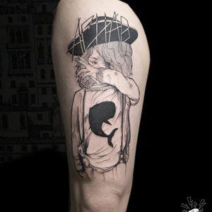 Child tattoo by Serena Caponera #SerenaCaponera #illustrative #blackwork #sketch #graphic #child #whale