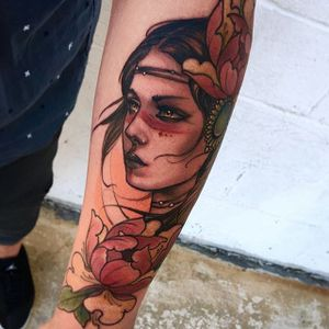 Warpaint woman portrait tattoo by Matt Tischler. #MattTischler #neotraditional #portrait #woman #fierce #tribe #warpaint