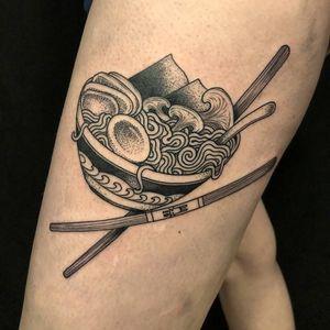 Bowl o ramen tattoo by Scott Santee #ScottSantee #ramentattoo #blackandgrey #stippling #dotwork #linework #noodles #ramen #Pho #chopsticks #mushrooms #egg #nori #soup #foodtattoo #bunny