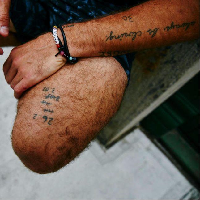 Some of Neistat's Leg Tattoos (Photograph by Ben Rayner) #CaseyNeistat #Neistat #YouTuber #Youtube #YouTuberInk #CaseyNeistatTattoos #CaseyNeistatTattoo
