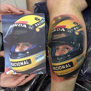Realismo incrível de #AndreTenorio #AyrtonSenna #formula1 #f1 #piloto #brasil #brazil #rip #icone #automobilismo #1deMaio #May1 #helmet #capacete #realismo #realism #TatuadoresDoBrasil