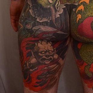 A closeup of the fallen angels in Peter Lagergren's large-scale tattoo (IG—peterlagergren). #backpiece #Christian #dragon #Lucifer #Michael #neotraditional #PeterLagergren #Satan #WaroftheAngels