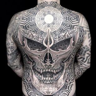 Backpiece by Jondix #Jondix #blackandgrey #dotwork #linework #mandala #pattern #sacredgeometry #tribal #skull #darkart #fire #death