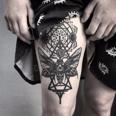 Sacred geometry moth by Otherser #otherser #darksidetattoosociety #sacredgeometry #geometric #shapes #dotwork #linework #moth #insect #blackandgrey #tattoooftheday