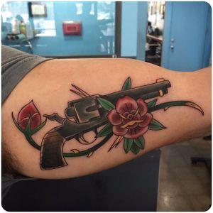 Six Shooter Tattoo by Kyle Ward #SixShooter #SixShooterTattoos #RevolverTattoos #Revolver #Guntattoo #WesternTattoo #WildWest #Cowboy #CowboyTattoo #KyleWard