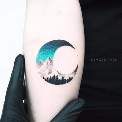 Moon over the mountains by Evgenymel #EvgenyAgnisvet #evgenymel #realistic #newtraditional #dotwork #color #mountains #forest #trees #moon #sky #stars #nature #landscape #tattoooftheday