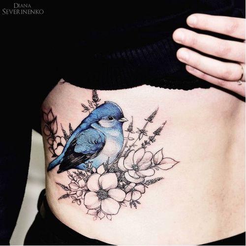Blue bird with flowers #DianaSeverinenko #floral #flower #blackwork #bird #nature