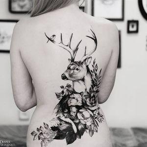 Forest life #DianaSeverinenko #floral #flower #blackwork #deer #fox #bird #nature #forest