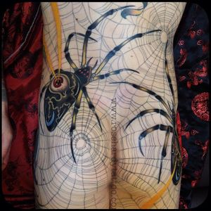 Spider Back Piece in Progress by Rose Hardy (via IG-rosehardy) #spider #spiderweb#traditional #neotraditional #detailed #color #rosehardy