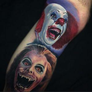 Horror sleeve with some terrifying teeth (via IG - paulackertattoo) #paulacker #halloween #horror #portrait #realism #IT