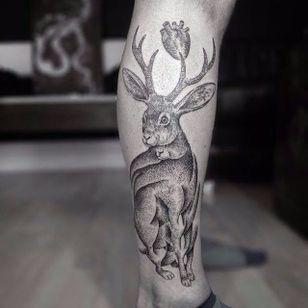 Jackalope tattoo by Otto D'Ambra. #OttoDAmbra #jackalope #fable #imaginary #animal #antler #rabbit #pointillism