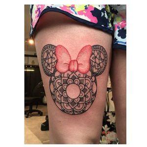 Minnie Mouse tattoo by Poppy Segger. #PoppySegger #disney #pointillism #dotwork #poppysmallhands #minniemouse #mandala
