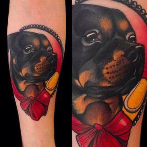 Rad looking portrait of a Rottweiler. Tattoo by Giulia Bongiovanni. #giuliabongiovanni #neotraditional #animalportrait #rottweiler #coloredtattoo