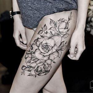Solid flower blackwork #DianaSeverinenko #floral #flower #blackwork #delicate