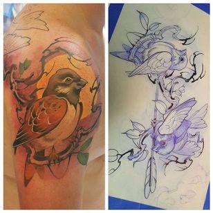 Beautiful bird tattoo by Mitchel Von Trapp @Mitchelmonster #Mitchelvontrapp #Newschool #Fantasy #Pokemon #AtomicZombietattoo #Bird