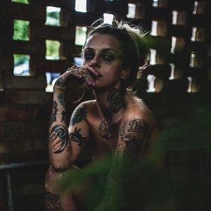 Courtney Lloyd coming out of the shadows (Photo by Haris Nukem, featuring IG—courtneylloydtattoos) #HarisNukem #Photography #TattooedBabes #ArtShare #courtneylloyd