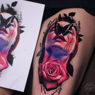 #DavePaulo #gringo #realismo #realism #colorido #colorful #portrait #retrato #colagem #collage #woman #mulher #flor #flower #rosa #rose #borboleta #butterfly #folha #leaf