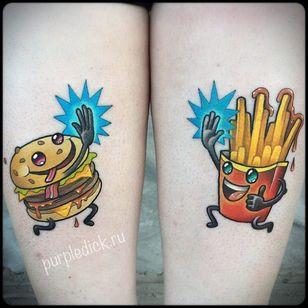 Best friends! By Dmitriy Purpledick Yakovlev (via IG -- purpledicktattoo) #DmitriYakovlev #purpledick #burger #fry #fries #frenchfries #frytattoo #friestatoo #frenchfrytattoo #frenchfriestattoo