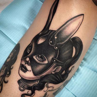 Bondage bunny by Jasmine Wright #JasmineWright #blackandgrey #neotraditional #lady #ladyhead #bondage #bunny #newtraditional #collage #bdsm #mask #tattoooftheday