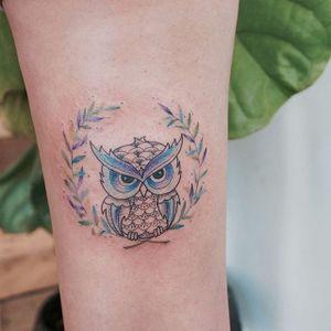 Watercolor owl tattoo by Tattooist G. NO. #TattooistGNO #GNO #GNOtattoo #fineline #pastel #watercolor #owl