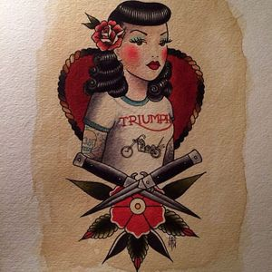 The t-shirt on this flash design of a pinup up by Howlin' Wolf (IG—howlinwolftattoo) is too cool. #flashart #HowlinWolf #pinup #switchblades #traditional