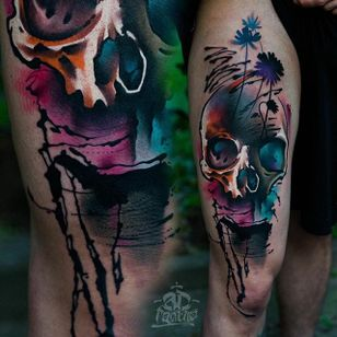 Floral Skull Tattoo by Alex Pancho #realism #colorrealism #realistictattoo #abstractrealism #realistictattoos #AlexPancho