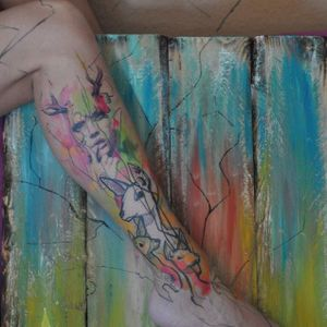 Artsy tattoo by Mich Beck #MichBeck #graphic #artistic #deer #color #colorful #artsy