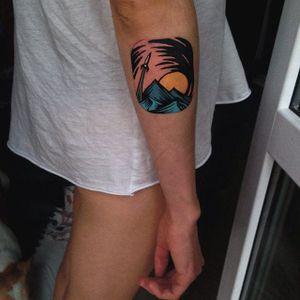 Linocut Landscape Tattoo by Eugene Nedelko #linocut #linocutlandscape #landscape #print #mountain #sun #EugeneNedelko