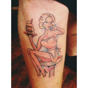 A pin up holding a root beer (via IG -- tiffytuffington) #rootbeer #rootbeertattoo #pinup