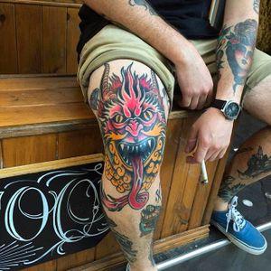 Tattoo by Julian Frogon. #julianfrogon #blessedtattoo #neotraditional #demon #kneecaptattoo #kneecap #demon #demonhead