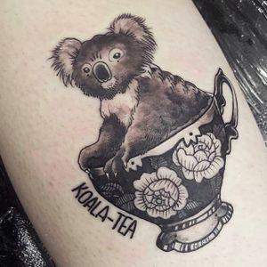 Koalaty pun by Amz Kelso (via IG -- amzkelso) #amzkelso #pun #puntattoo #koala #tea