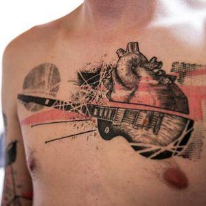 Cool chest tattoo by Köfi #Köfi #graphic #contemporary #redink #guitar #anatomicalheart