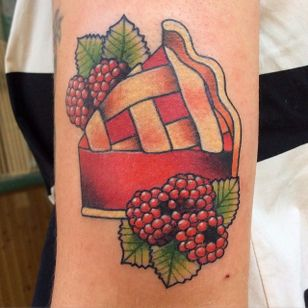 This slice of pie is calling your name. Tattoo by @tattoosbymeri. #fruit #raspberry #neotraditional #pie #dessert #tattoosbymeri