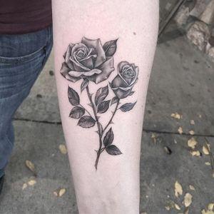 Rose Tattoo by Em Scott #rose #roses #blackandgreyrose #blackandgray #blackandgrey #fineline #finelinerose #EmScott