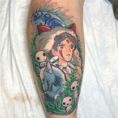 Princess Mononoke tattoo by Kimberly Wall aka bunnymachine #KimberlyWall #bunnymachine #movietattoos #color #newschool #anime #princessmononoke #studioghibli #forestspirit #wolf #kodama #tattoooftheday