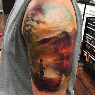 Child fishing off the dock. Tattoo by Kyle Cotterman. #realism #colorrealism #KyleCotterman #fishing #child #landscape