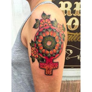 Mandala and cross tattoo by @kajsa_redrosetattoo #redrosetattoo #gothenburg #sweden #psychedelic #neotraditional #geometric #mendhi #mandala #cross