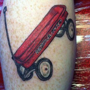 Radio flyer tattoo (via IG -- cat_at_metanoiatattooparlour) #radioflyer #wagon #redwagon #wagontattoo #redwagontattoo #Littleredwagontattoo