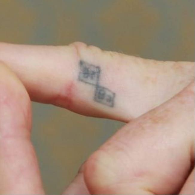 Bryan Cranston's Breaking Bad finger tattoo. #BryanCranston #BreakingBad #FingerTattoo