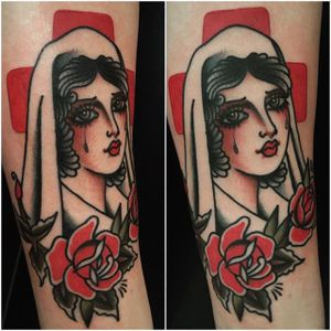 Nurse by Moira Ramone (via IG-moira.ramone) #traditional #ladyhead #girlsgirlsgirls #moiraramone