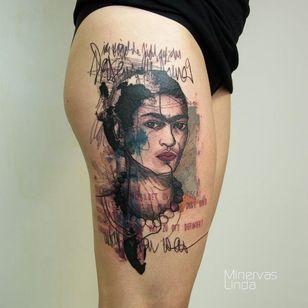 Frida Kahlo tattoo by Minervas Linda #MinervasLinda #portraittattoos #color #illustrative #watercolor #FridaKahlo #lady #bust #portrait #text #painter #famous #artist